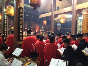 The largest Taoist temple in Singapore Cai Huang Temple (Singapore) During the ceremony packed with musicians with a Chinese Temple Music Ensemble.