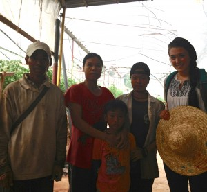 Meagan with a family she interviewed in the Cameron Highlands, Malaysia