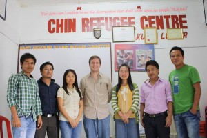 Michael with the staff of the Chin Refugee Center in Kuala Lumpur, Malaysia