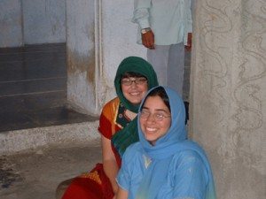 Christa at the Khuldabad Darga with Tiffany on right.