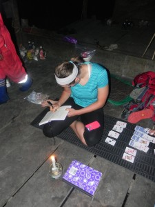 Taking notes by candlelight