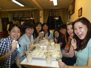 May 22: Chatham University students Ashley Henry and Sook Yee Leung (second and third from right) with Tunghai University students in Taichung City, Taiwan