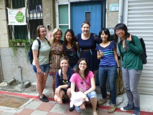 June 2: Chatham students with women business owners (sisters) of a hostel for women travelers in Tainan City, Taiwan. Back row, from left: Kristi Hruska, Chloe Bell, Pei-Han Hsin, Ashley Henry, Tsai-Hua (Pin) Hsin, Sook Yee Leung. Front row, from left: Rachel McNorton, Diana Cabrera