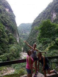 June 8: Chatham students Kristi Hruska, Rachel McNorton, and Chloe Bell hiking in Taroko Gorge, near Taiwan's east (ie. Pacific) coast.