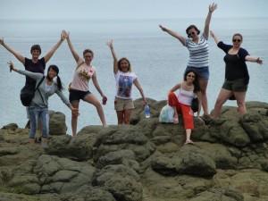 June 6: Chatham Research Team on Penghu Island overlooking the Taiwan Strait From left: Karen Kingsbury, Sook Yee Leung, Rachel McNorton, Chloe Bell, Diana Cabrera, Kristi Hruska, Ashley Henry (Charlotte Lott, photographer)