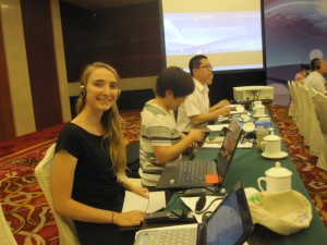 Aubrey Waddick attending an international workshop organized by the International Council on Clean Transportation