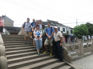 Davidson and Fudan faculty and students in a town in the Wujiang area.