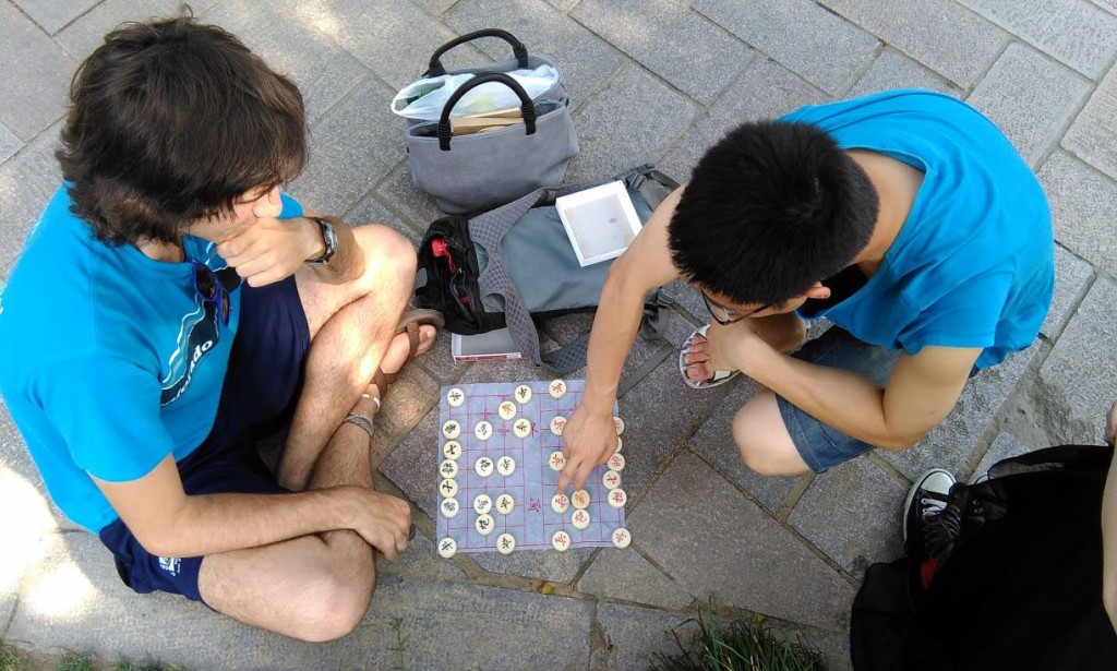 Luther student Travis Houle learned how to play Chinese Chess with a local Chinese university student on the street.