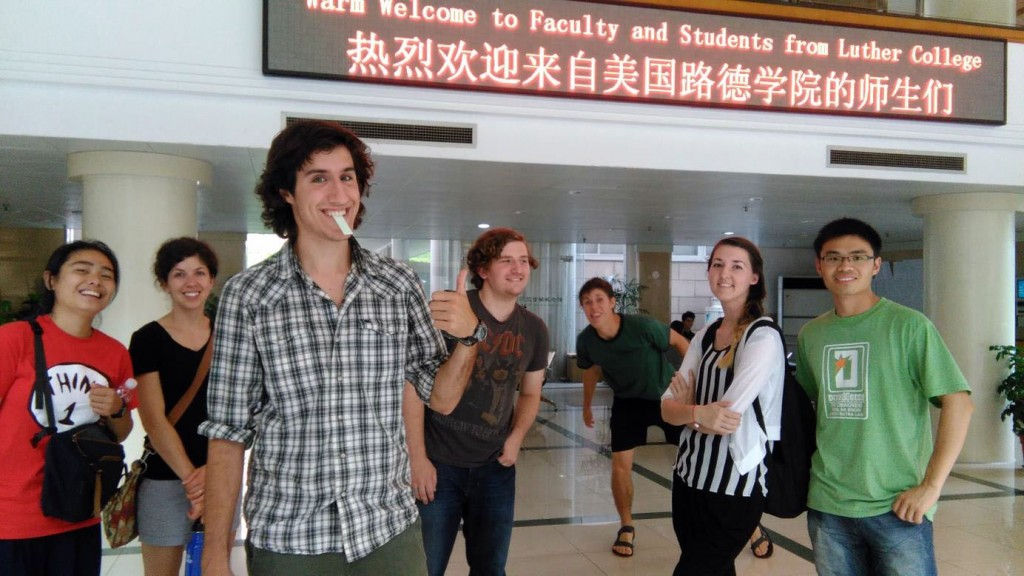 John Rosenwinkel was able to get into the picture when the group stayed at a local university.