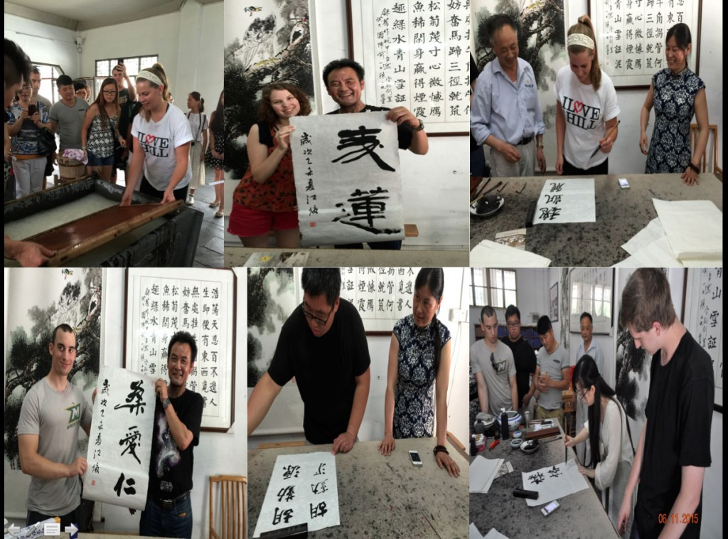 Rice-paper making and calligraphy practice.