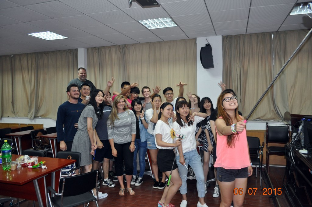 Chahuahui (Tea-chat-party) with college students from Anhui Normal University.
