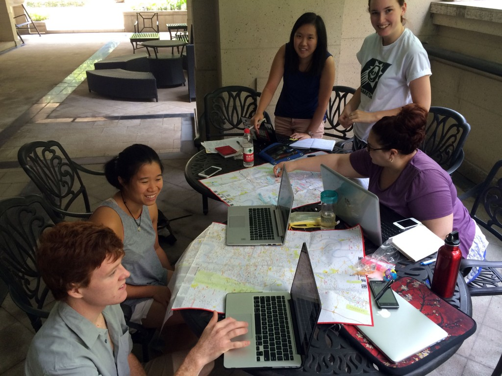 Early fieldwork site selection using a local Chongqing map to identify pre-selected sites using ESRI satellite imagery. Pictured: Kevin McGill, Shirley Chen, Joanne Zhao, Aidan Mabey, and Melissa Iachetta.