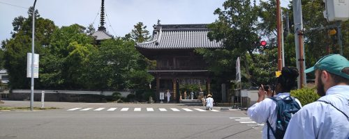 This photo show the main gate of the first temple in the Shikoku pilgrimage as the CCU arrived after a short trek along the green line from the local train station.