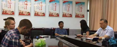 Interviewing a community leader in Hu Ji Town, Shandong Province