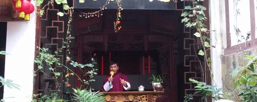 Collecting stories and folksongs at a Zou Ma Town teahouse