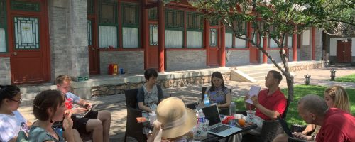 A conversation regarding The Story of the Stone and the China Dream with staff from the Cao Xueqin Cultural Center and Professor Licheng Gu of Northwestern University in the rear courtyard of the Sleeping Buddha Resort.